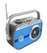 Retro radio over white Stock Illustration