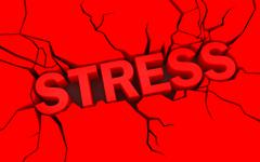 Word stress in red color with cracks over Piirros