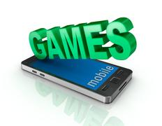 Smart phone and games . 3d concept - stock illustration