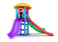 Colorful playground for children. Isolated on white - stock illustration