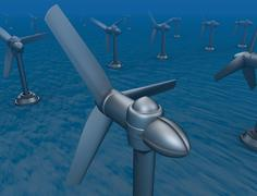 Underwater turbine tap river energy - stock illustration