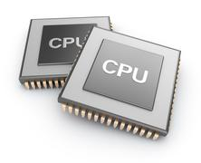 Cpu chips over white background Stock Illustration