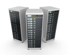 Network servers in data center isolated on white Piirros