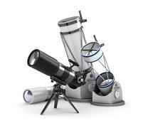 Telescope set on white background - stock illustration