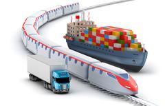 Stock Illustration of Freight transport by truck, rail and ship isolated on white