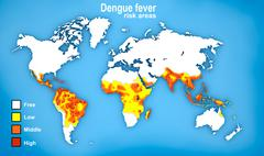 Map of Dengue fever spread Stock Illustration