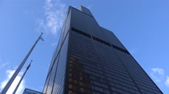 Ground-level view of the Willis Tower. Chicago, USA. Stock Footage