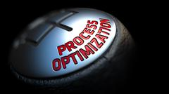 Process Optimization on Gear Shift with Red Text - stock illustration