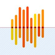 Infographics with asymmetric orange overlapping bars Stock Illustration