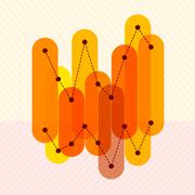 Infographics with orange overlapping bars Stock Illustration