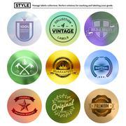 Vintage premium labels set on tile structured layout and blurred circles - stock illustration
