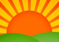 Halftone card with sunrise over green hills - stock illustration