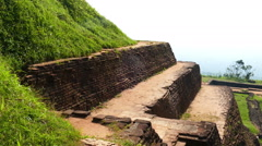 Ruins of fortress on top of Sigiriya Lion Rock Stock Footage