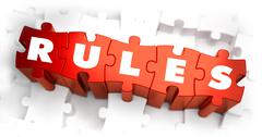 Rules - White Word on Red Puzzles - stock illustration