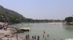 Rafting, Boating & Bathing in Ganga River in Rishikesh Stock Footage