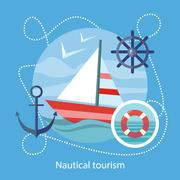 Stock Illustration of Nautical Tourism. Sailing Vessel in Blue Water