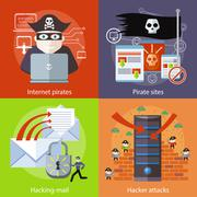 Hacker attaks, Internet Pirates and Pirate Sites Stock Illustration