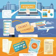 Pay Bills, Online Booking Apartments, Order Ticket Stock Illustration