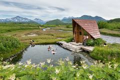 Goryacherechensky hot springs. Nalychevo nature park on Kamchatka. Far East Stock Photos