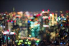 Defocused urban night scene - stock photo