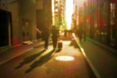 Defocused urban scene retro style - stock photo