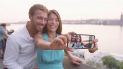 Couple taking selfie photo picture in love  photo picture in Stockholm Stock Footage