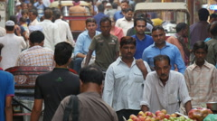 Busy lane in the Chandni Chowk bazaar in New Delhi Stock Footage