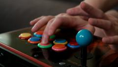 Professional Fighting Game player using an arcade joystick to practice. - stock footage