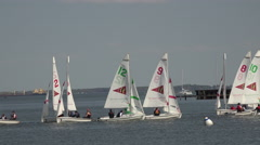 Annapolis Maryland Yacht Club sailboat training youth fast 4K 044 Stock Footage