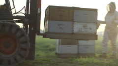 Forklift truck carrying beehives boxes Stock Footage