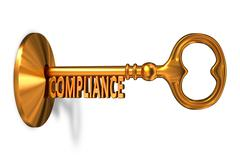 Compliance - Golden Key is Inserted into the Keyhole Stock Illustration