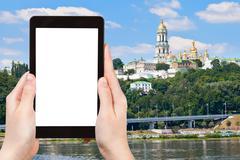 tourist photographs of Kiev Pechersk Lavra - stock photo