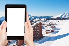 photo of Avoriaz town in Alps, France - stock photo