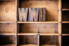 WWII Concept Wooden Letterpress Theme Stock Photos