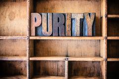 Purity Concept Wooden Letterpress Theme Stock Photos