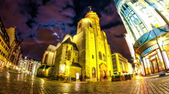 Timelapse of clouds move over the St. Nicholas Church in Leipzig Stock Footage