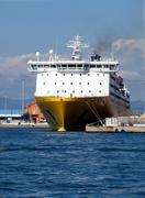 Prow view italian ferry - stock photo