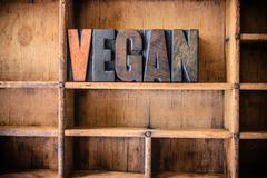 Vegan Concept Wooden Letterpress Theme Stock Photos