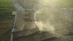 Beekeeper spraying smoke on beehive Stock Footage