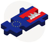 Stock Illustration of European Union and Cambodia Flags in puzzle