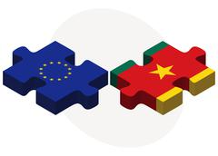 Stock Illustration of European Union and Cameroon Flags in puzzle