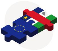 European Union and Central African Republic Flags in puzzle - stock illustration