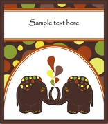 Sample Cards with two elephants Stock Illustration
