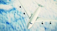 Modern airplane boeing  over the clouds. Stock Footage