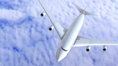 Stock Video Footage of Modern airplane boeing  over the clouds.