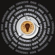 cup of light bulb in cappuccino - stock illustration