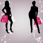 Stock Illustration of The outline of two fashionable girls with shopping