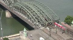 ULTRA HD 4K Aerial view Hohenzollern bridge train pass Koln landmark sunny day   Stock Footage