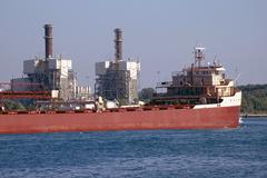 Stock Photo of Detroit River Shipping