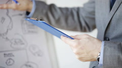 Close up of man with business scheme and clipboard Stock Footage